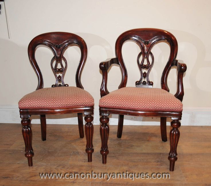 http://canonburyantiques.com/s/dining-sets/victorian-dining-sets/1/  Mahogany Victorian dining chairs - classic chair with balloon back very comfortable to sit in. Large range of other Victorian chairs available
