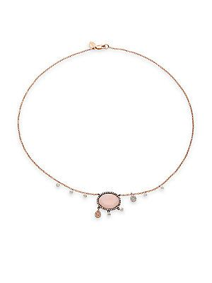 Meira T Diamond, Pink Opal and 14K Rose Gold Pendant Necklace $863