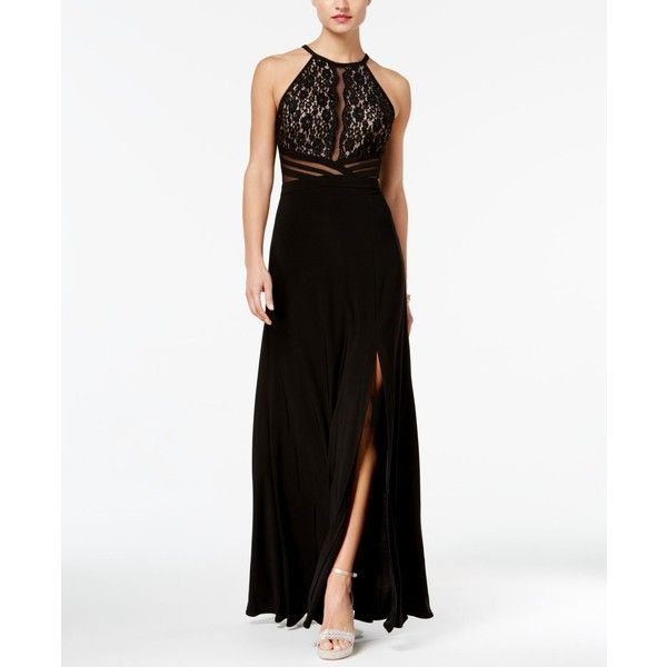 Morgan & Company Juniors\' Lace & Illusion Halter Gown ($99) ❤ liked ...