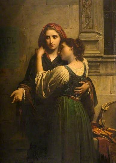 Charity for My Sister: undated by Pierre Auguste Cot (Wolverhampton Art Gallery, West Midlands, UK) - Academic Classicism