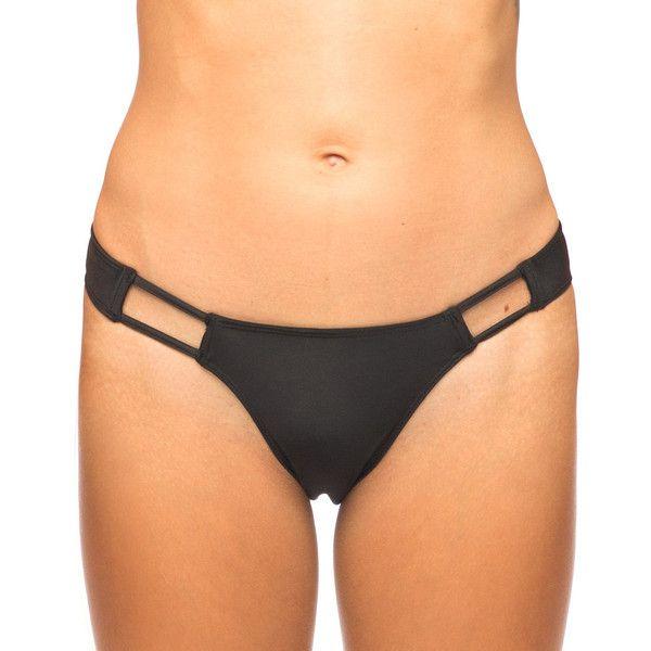 Motel Polarized Cut Out Bikini Bottom In Black ($14) ❤ liked on Polyvore featuring swimwear, bikinis, bikini bottoms, black, bikini bottom, cut out bikini swimwear, cut out bikini top, swim bikini bottoms and cut out bikini
