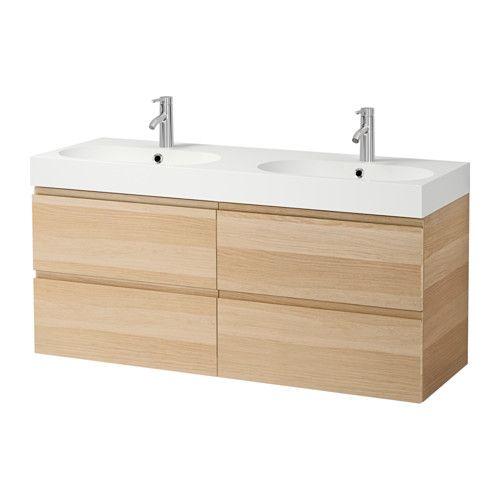 GODMORGON / BRÅVIKEN Dit badkamermeubel gaan we plaatsen. Veel opbergruimte en 2 wasbakken. 120 cm breed!