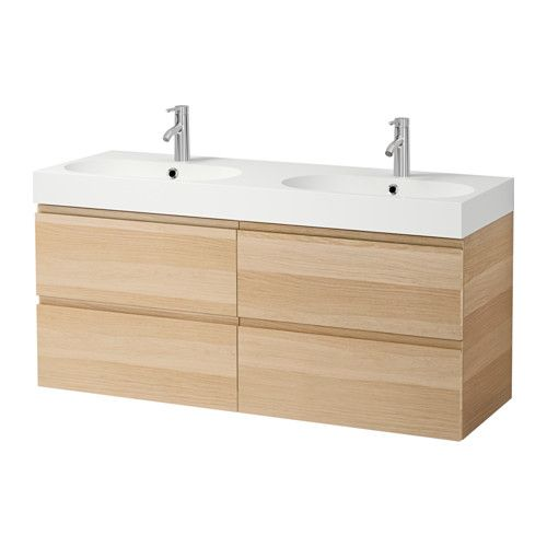 "GODMORGON / BRÅVIKEN Sink cabinet with 4 drawers - white stained oak effect, 55 1/8x19 1/4x26 3/4 "" - IKEA"