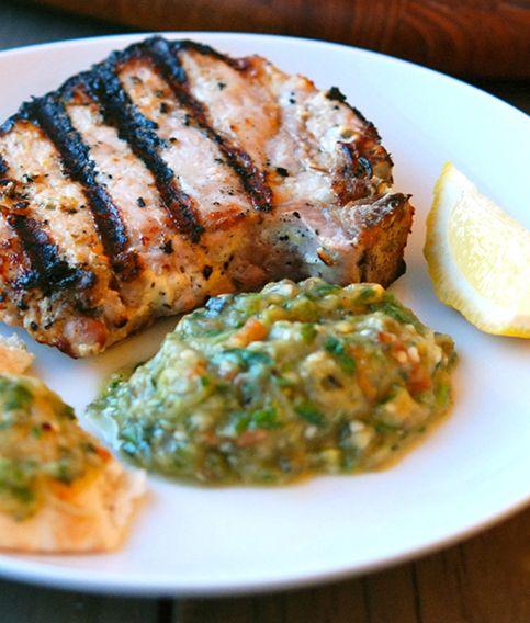Grilled Pork Kalymnos-Style with Eggplant &Tomato Salad