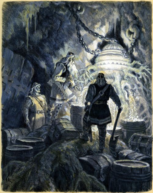 "meanwhilebackinthedungeon: "" — Nicolai Kochergin The Heroes of Kalevala Take the Wonderful Mill Sampo from Pohjola from the Kalevala """
