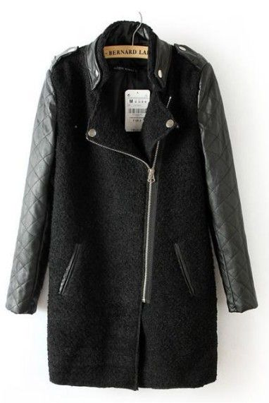 Black Contrast Leather Quilted Sleeve Zipper Coat
