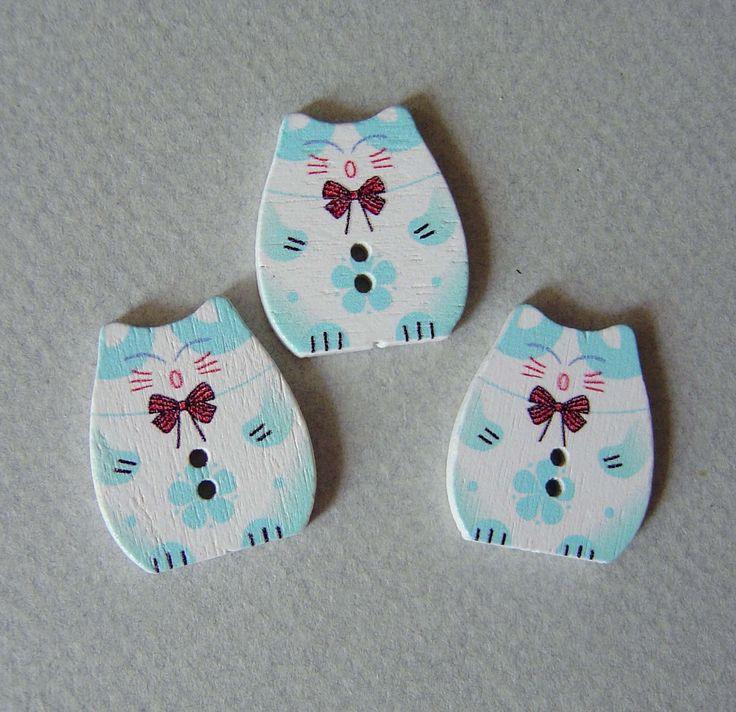 3 boutons CHAT TURQUOISE bouton 2 trous en bois 2,5 x 2,2 cm : Boutons par rosetoulouse