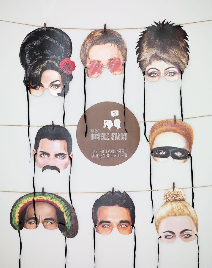 Masken für die Photobooth - Dank diesen tollen Star-Masken wird auch der größte Foto-Muffel gerne vor die Kamera der Photo-Booth treten.