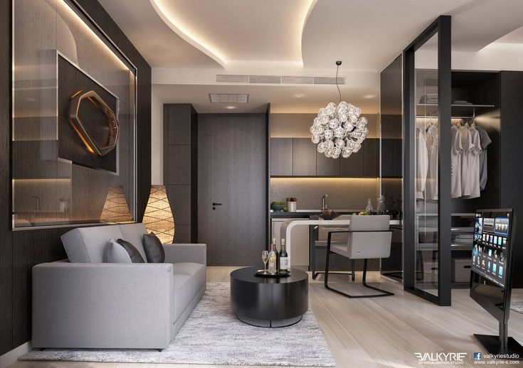 3D Perspective Interior / how lighting works to make a luxury space / ceiling lights / wall lights & neutral grey color palette