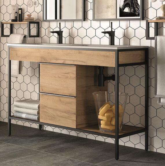 meuble double vasque industriel en bois