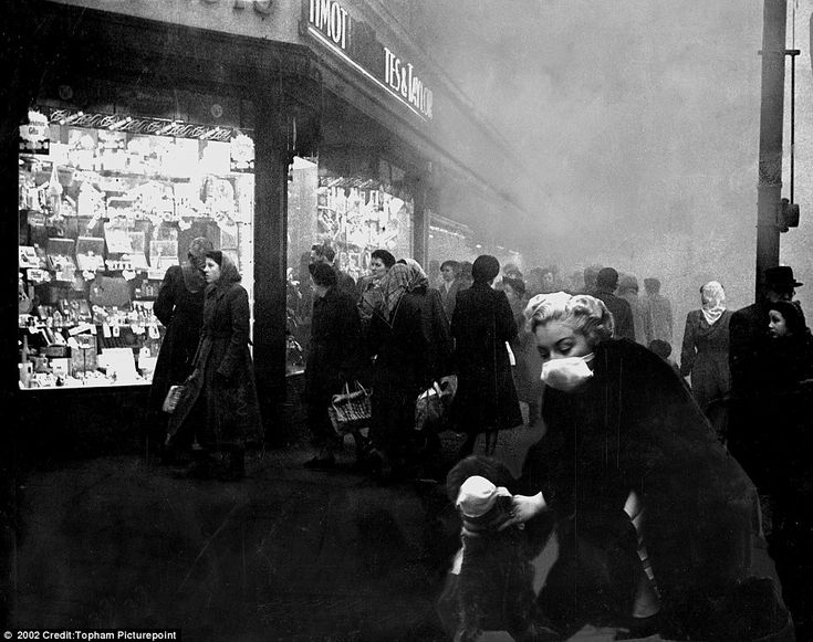 The Great Smog of London of 1952: Thick fog blacked out large areas of London, including Brixton above, and the Home Counties while bringing road and rail traffic to a crawl
