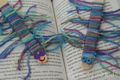 Bookworm - pop-sickle stick and yarn