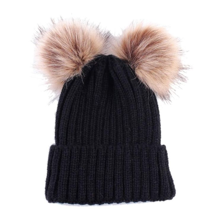 Women Fashion Keep Warm Winter Hats Knitted Wool Hemming Winter Hats For Girls Adjustable pompon mink hats