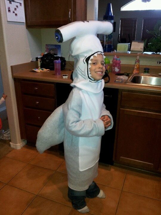 Caleb S Homemade Hammerhead Shark Costume Halloween