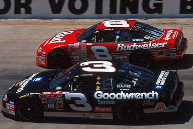 The Good Ol' Days of NASCAR!!! Dale Earnhardt #3, Dale Earnhardt, Jr. #8.  Southerners LOVE the Earnhardt's.