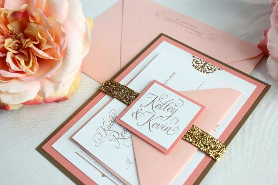 { PEACHES & CREAM WEDDING INVITATION SUITE - SAMPLE }  Peach, gold, ivory, cream wedding invitation. Romantic.