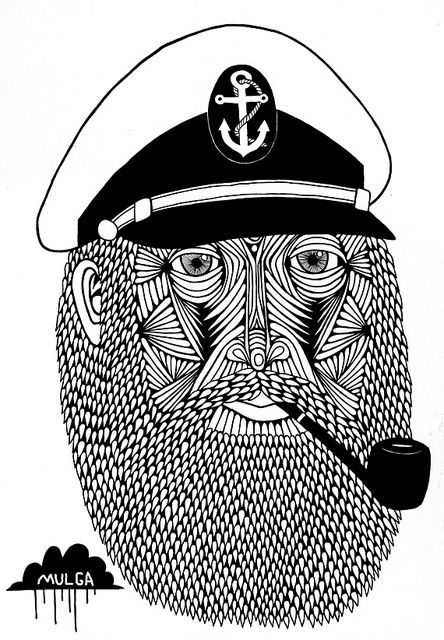 The Art of Mulga - Drawing of Captain Monkey pants art with captain hat and beard and pipe by Mulga The Artist, via Flickr
