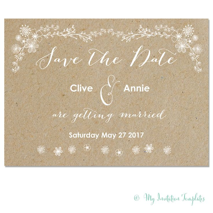 """FREE whimsical wedding save the date template - Printable floral and Rustic """"Kraft"""" design - download today!"""