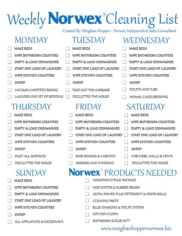 Print this check list, laminate it and check your daily chores off for the day with a dry erase marker! Please go to my website to order your products.. Thanks to Meghan for making this! www.traciderringer.norwex.biz or email me CleanMom@yahoo.com @Kelley Green HealthNut