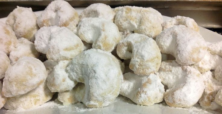 Kourabiedes... Greek butter cookies, old recipe given to me by a Greek neighbor....