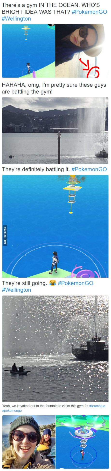 Someone livetweeted our kayak trip out to battle a gym in the harbour [Pokemon GO]