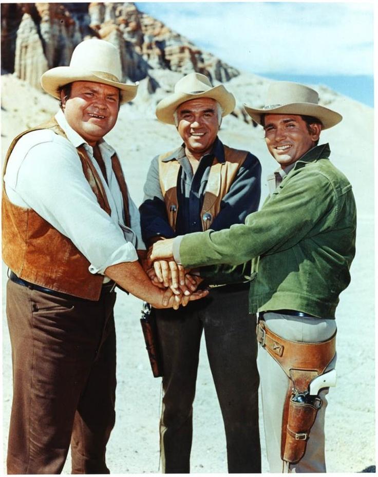 """Dan Blocker as 'Eric """"Hoss"""" Cartwright', Lorne Greene as 'Ben Cartwright' & Michael Landon as 'Joseph """"Little Joe"""" Cartwright' in Bonanza (1959-73, NBC)"""