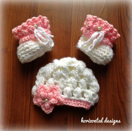 Crochet Pattern Baby Booties and Hat, Newborn, PDF ...