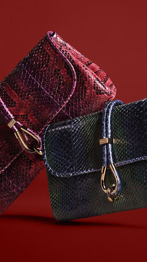 Textured clutch bags in red and kelly green from Burberry for A/W13
