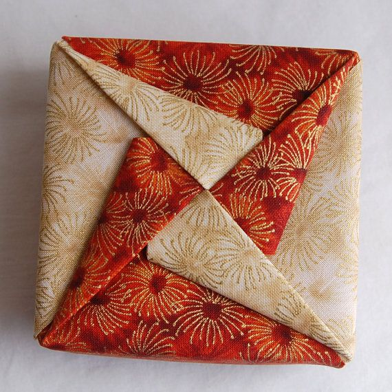 Fabric Origami Pinwheel Box  Rust