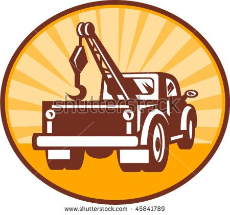 vector illustration or icon of a Rear view of a tow or wrecker truck  #towtruck #icon #illustration
