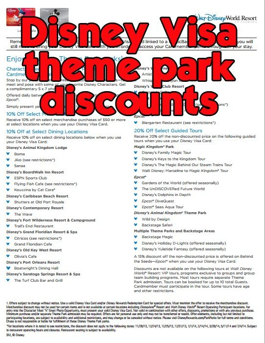 Disney World discounts available to Disney Visa cardholders (PDF)