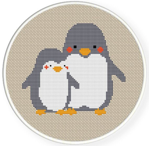 Instant download,free shipping,Counted Cross stitch pattern,Cross-Stitch PDF,nursery decor,mother penguin and her baby penguin , zxxc0320