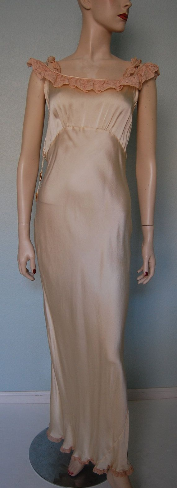 1930s New/Old Silk Satin and Lace Night Gown by KittyGirlVintage, $84.00