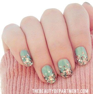 Mint + Confetti Nails