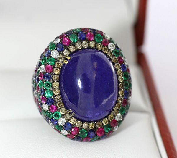 Catawiki Online-Auktionshaus: Tansanit-Saphir-Smaragd-Rubin-Diamant-Ring, zus. 26,40 carat