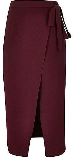 River Island Womens Dark red wrap split front midi skirt  #sponsored