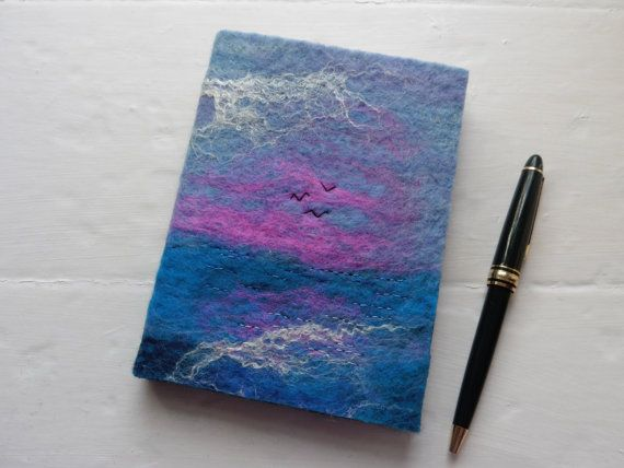 A6 Handfelted Notebook Journal: Pink Sunset by Deborah Iden.  See more by LittleDeb on Facebook, Folksy, Etsy and Pinterest.