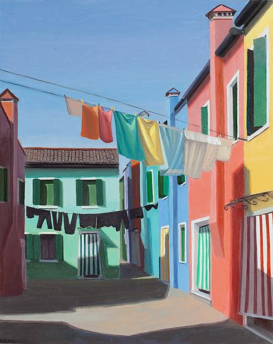 Fresh Air. Marian Dioguardi. Oil on panel, 2012. From her series on paintings on neighborhoods in Venice, Italy.
