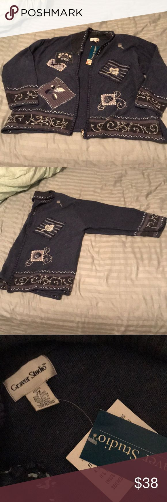 Knit zip up sweater Winter themed zip-up sweater, doesn't have a hood, new with tags!, has shoulder pads that are removable by Velcro, a QVC exclusive!, price is negotiable, in amazing condition Susan Graver Sweaters Cardigans