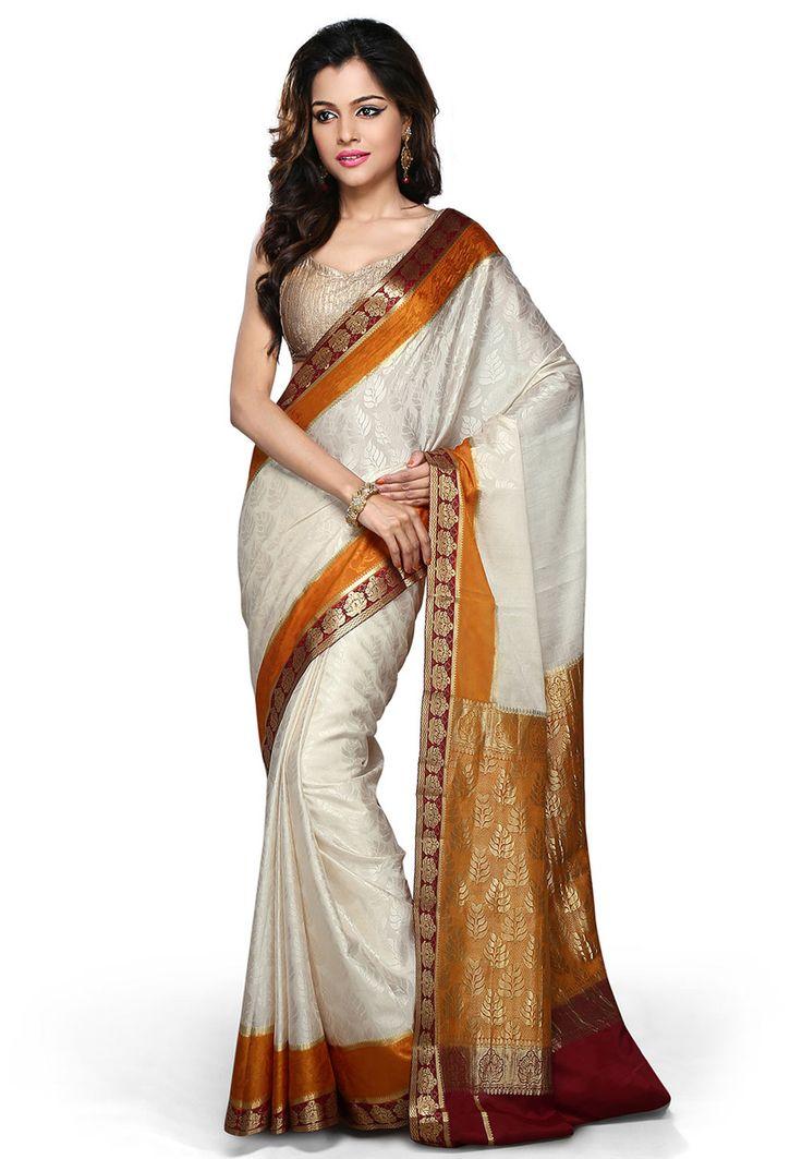 Off White and Golden Orange Pure Mysore Silk Saree with Blouse: SHU224