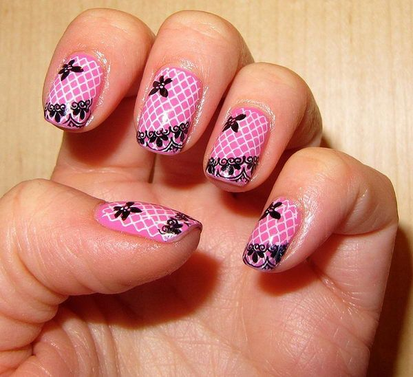 Best 25 lace nail art ideas on pinterest lace nail design pink 20 fashionable lace nail art designs prinsesfo Images