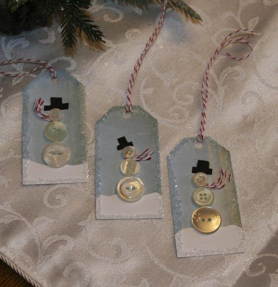 Tags Snowman Button  Set of 3 SALE by ellaminnowpeae on Etsy