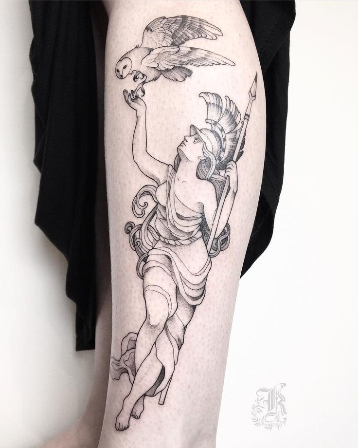 Antique Athena with owl tattoo idea by @she_is