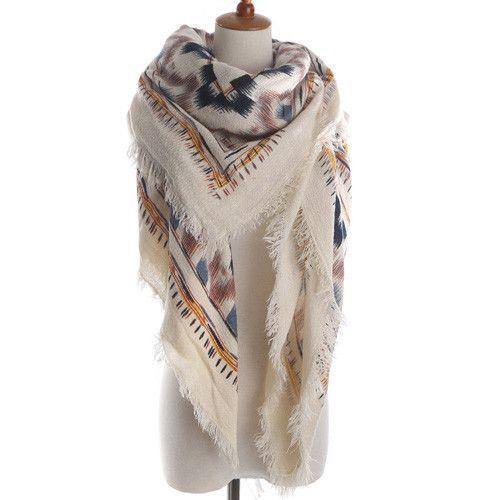 ZALA Brand Woman Fashion geometric Print Square Scarf Warm Winter Cashmere Fringed Blanket Scarf Shawl ladies Scarves
