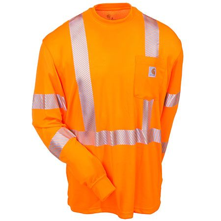 Carhartt Clothing Men's Force Orange 100496 824 Hi Vis Long Sleeve Shi