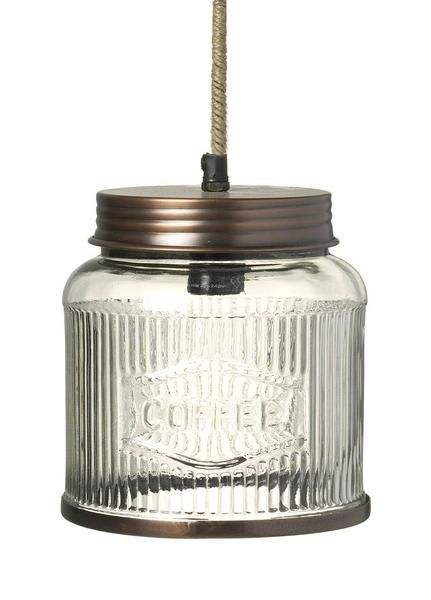 Pendant lamp in a shape of a glass coffee jar with a copper lid and a rope cord. The bulb fitting requires a small screw in bulb. The jar is 180X170X170mm wi...