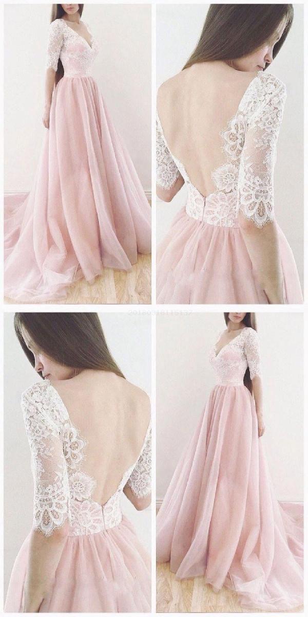 Hot Sale Dazzling Wedding Dress A-Line, V Neck Wedding Dress, Ivory Wedding Dress, Wedding Dress Pink