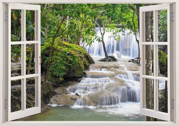 Waterval wall art 3D-venster, waterval vinyl muur sticker voor kinderdagverblijf of slaapkamer, kleurrijke forest mountain enorme sticker wandversiering [218]