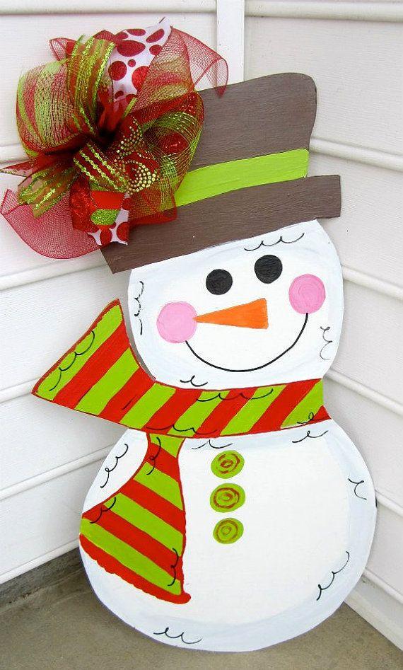 Wooden Snowman for your front door  wooden door by paintchic