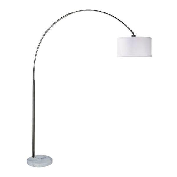 """Q-Max Steel Adjustable Arching 81"""" Floor Lamp With White Extra Large Shade"""